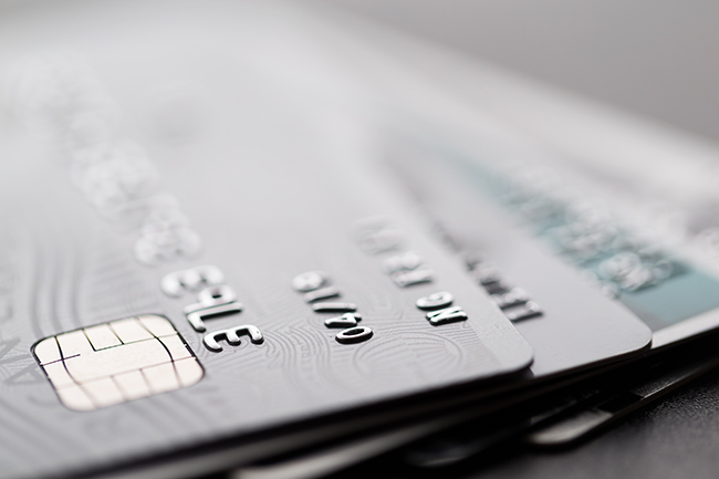Close up of silver credit cards.